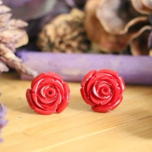 Jewelry - 925 Sterling silver flower stud red earrings 15mm